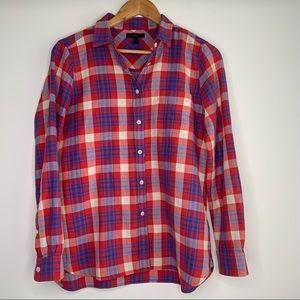J Crew Women's Red, Blue Flannel Button Down Shirt